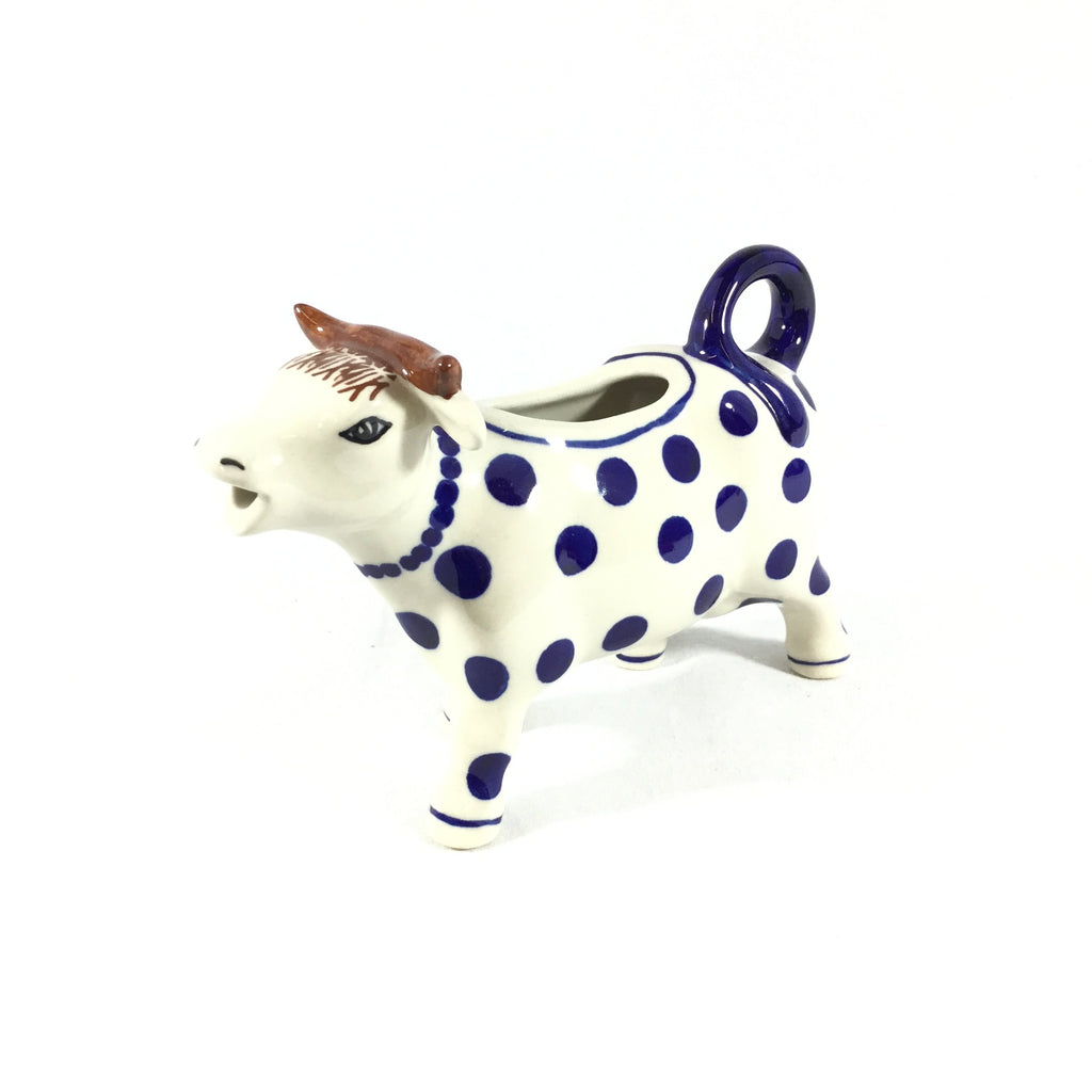 Polish Pottery Cow Creamer in Blue Polka-Dot Blue Polka-Dot