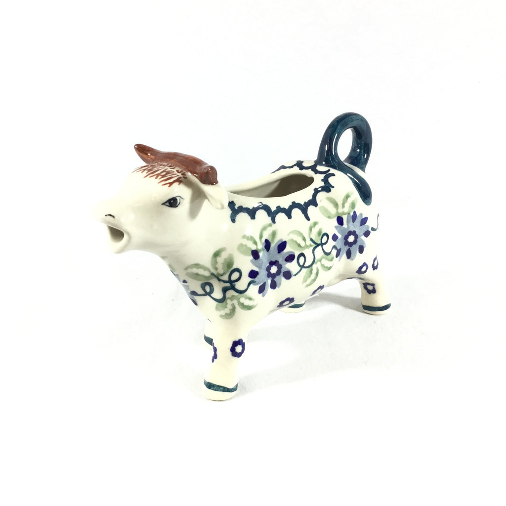 Polish Pottery Cow Creamer in Blue and Green Flowers Blue and Green Flowers