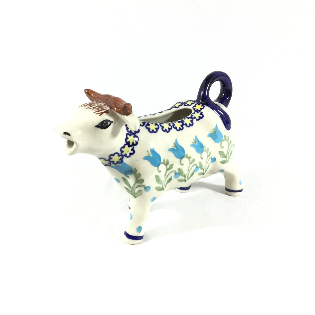 Polish Pottery Cow Creamer in Blue Tulips Blue Tulips