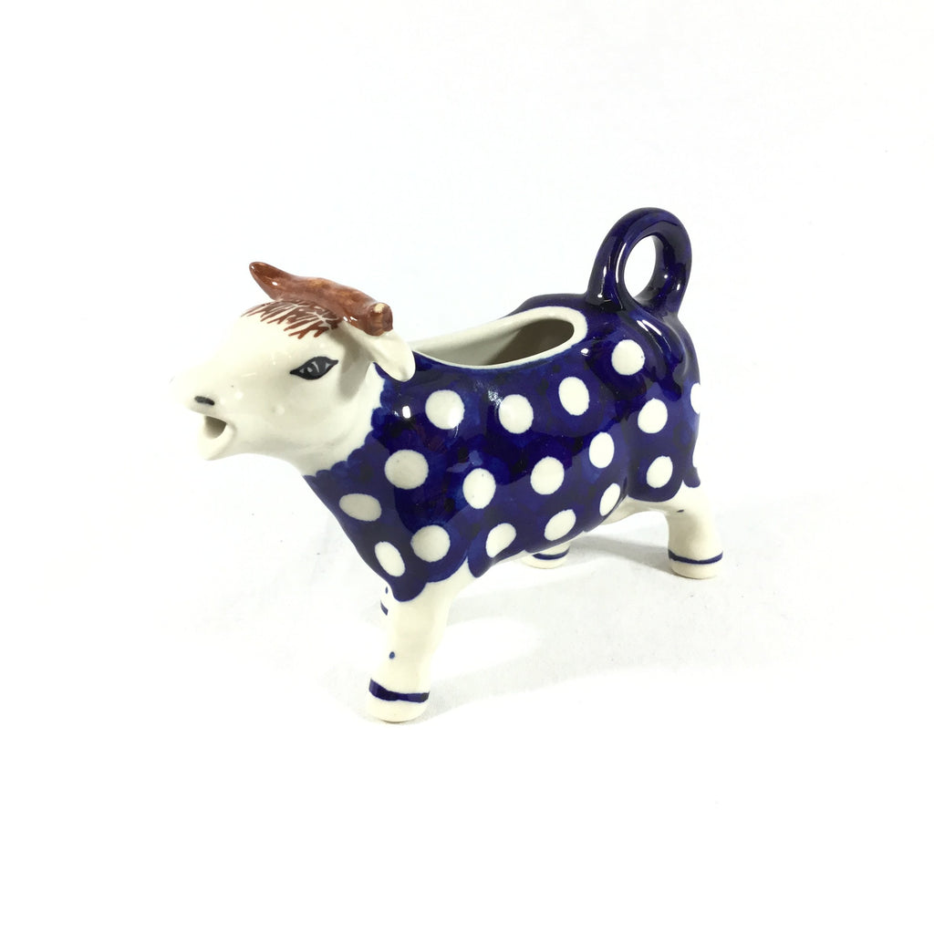 Polish Pottery Cow Creamer in White Polka-Dot White Polka-Dot