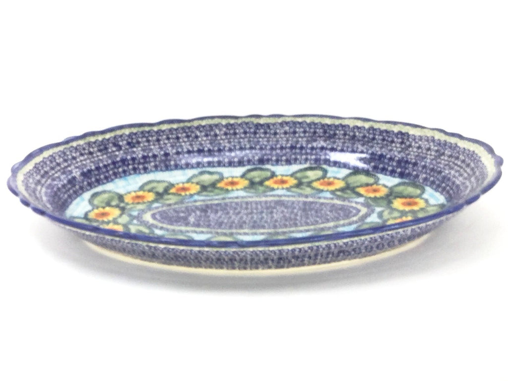 Polish Pottery Oval Basia Platter in Sunflowers Sunflowers