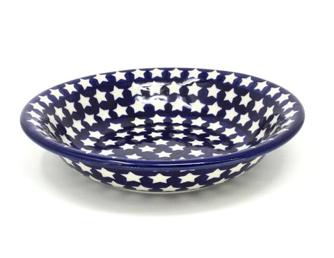 "Polish Pottery Pasta Bowl 9"" (M-177) White Stars"
