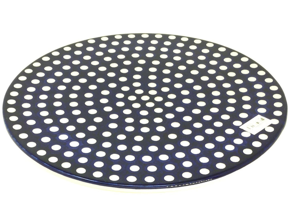 "Polish Pottery Rd Pizza Plate 12"" in White Polka-Dot White Polka-Dot"