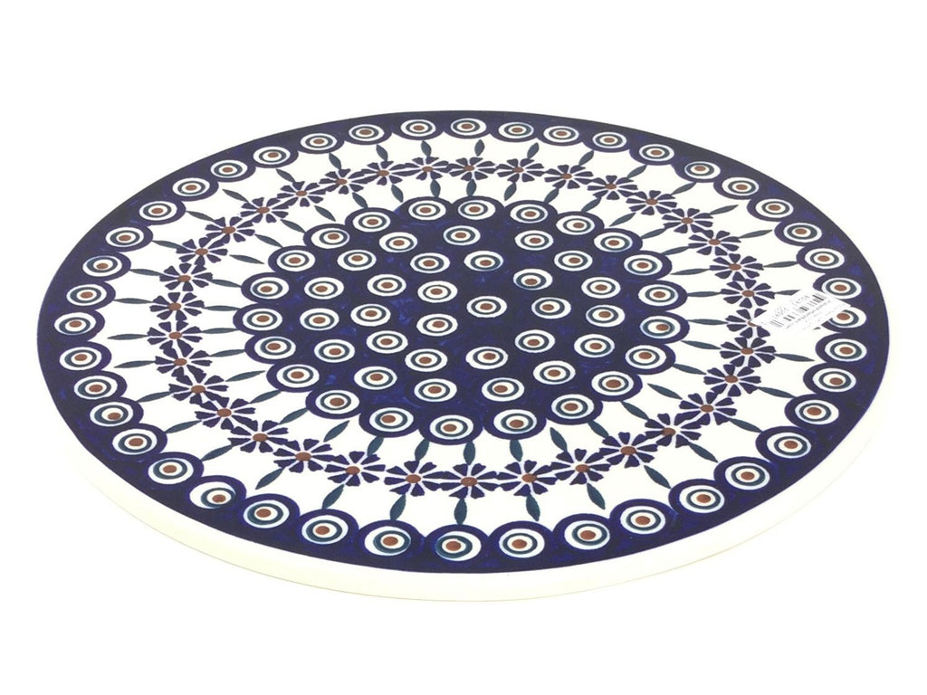 "Polish Pottery Rd Pizza Plate 12"" in Peacock Peacock"