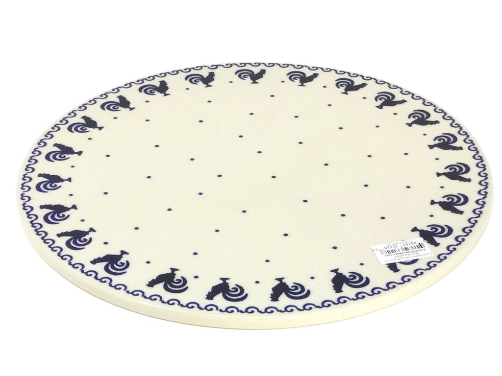 "Polish Pottery Rd Pizza Plate 12"" in Blue Roosters Blue Roosters"