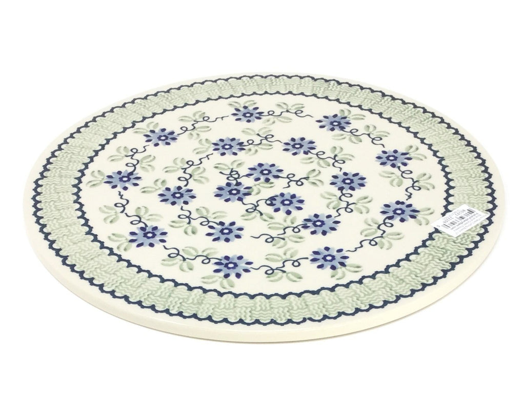"Polish Pottery Rd Pizza Plate 12"" in Blue and Green Flowers Blue and Green Flowers"