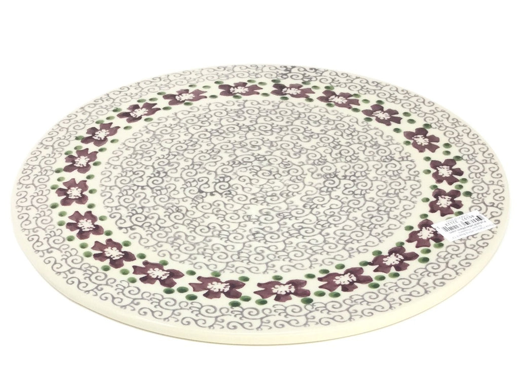 "Polish Pottery Rd Pizza Plate 12"" in Purple and Gray Flowers Purple and Gray Flowers"