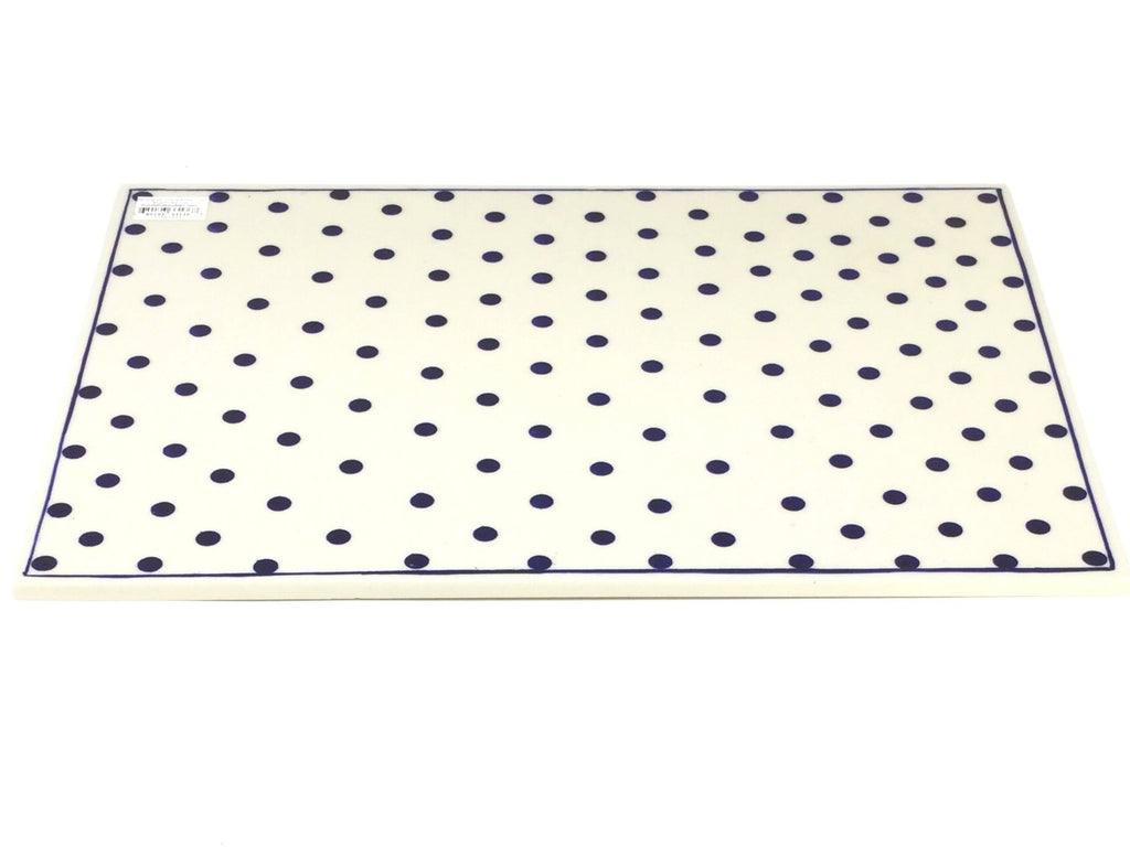 Polish Pottery Rectangular Cutting Board in Blue Polka-Dot Blue Polka-Dot