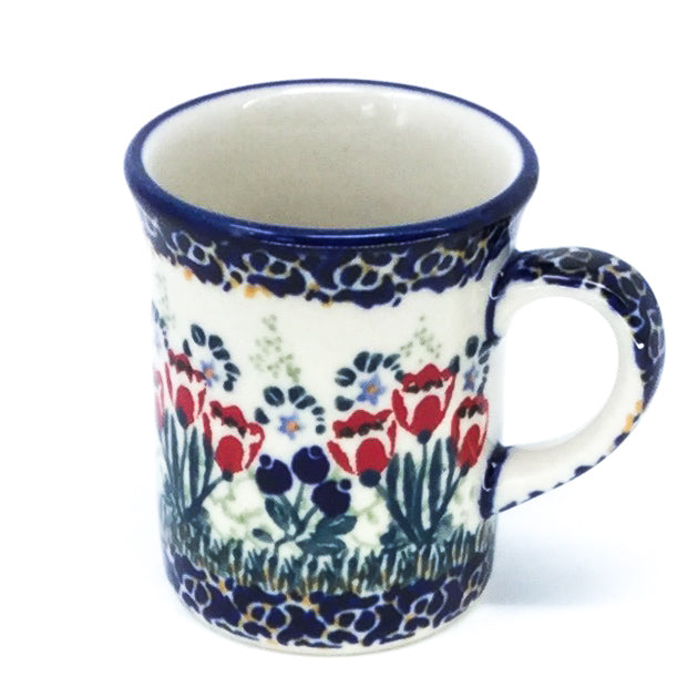 Polish Pottery Espresso Cup 4 oz in Red Tulips Red Tulips
