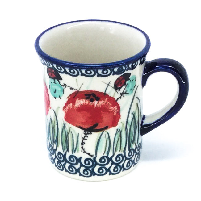 Polish Pottery Espresso Cup 4 oz in Polish Poppies Polish Poppies