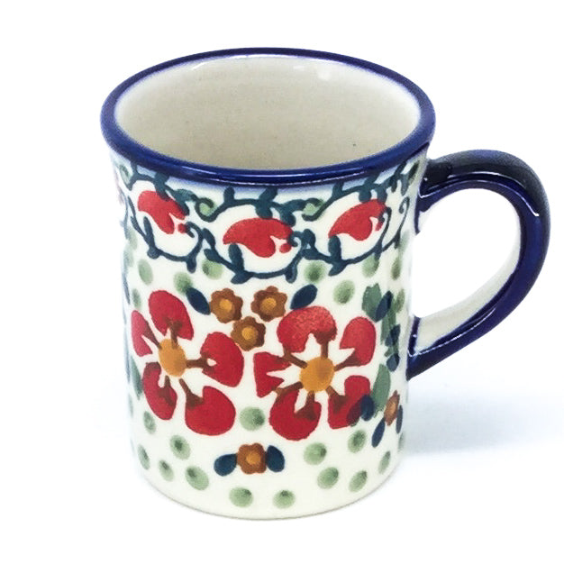 Polish Pottery Espresso Cup 4 oz in Red Poppies Red Poppies