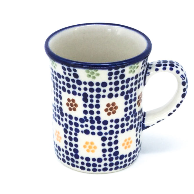Polish Pottery Espresso Cup 4 oz in Modern Checkers Modern Checkers