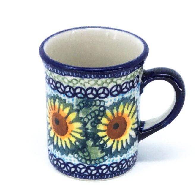 Polish Pottery Espresso Cup 4 oz in Sunflowers Sunflowers