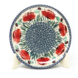 "Polish Pottery Round Dinner Plate 10"" (T-132S) Polish Poppy"