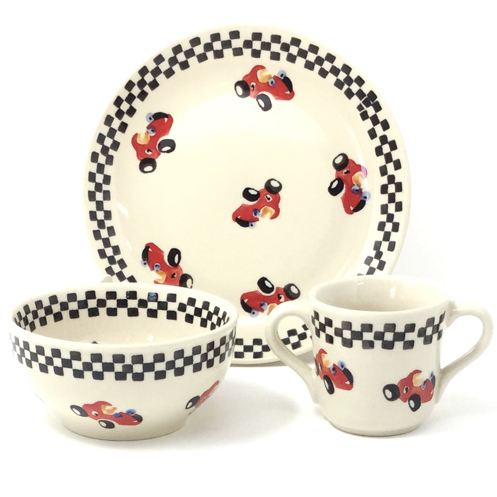 Polish Pottery Child Dinner Set in Cars Cars
