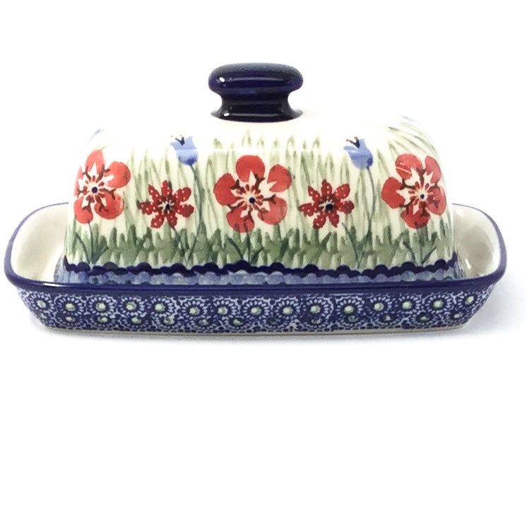 Polish Pottery Butter Dish in Spring Meadow Spring Meadow