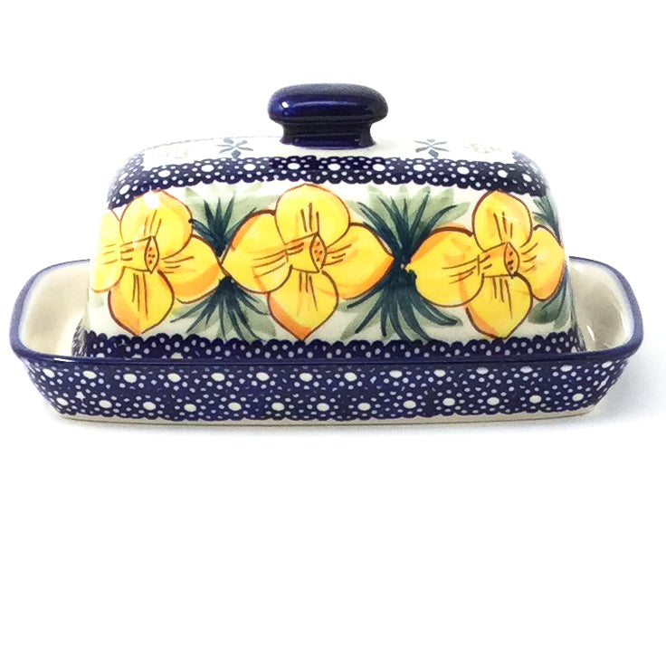 Polish Pottery Butter Dish in Daffodils Daffodils