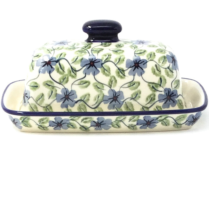 Polish Pottery Butter Dish in Blue Clematis Blue Clematis