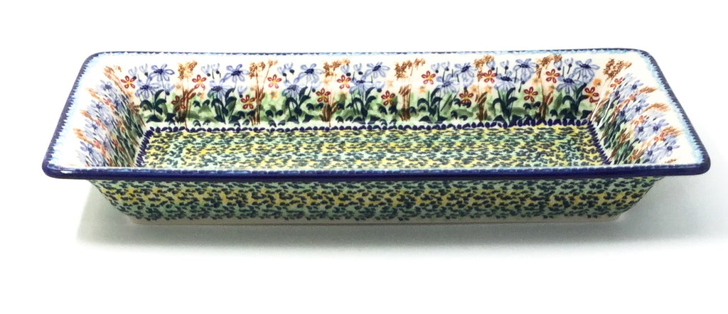Polish Pottery Sm Rect. Server w/Lip in Country Spring Country Spring