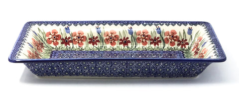 Polish Pottery Sm Rect. Server w/Lip in Spring Meadow Spring Meadow