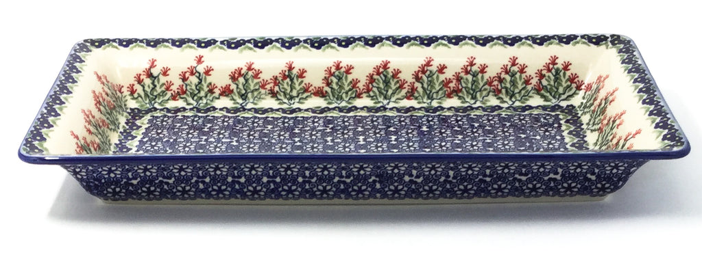 Polish Pottery Lg Rect. Server w/Lip in Field of Flowers Field of Flowers