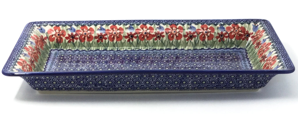 Polish Pottery Md Rect. Server w/Lip in Spring Meadow Spring Meadow
