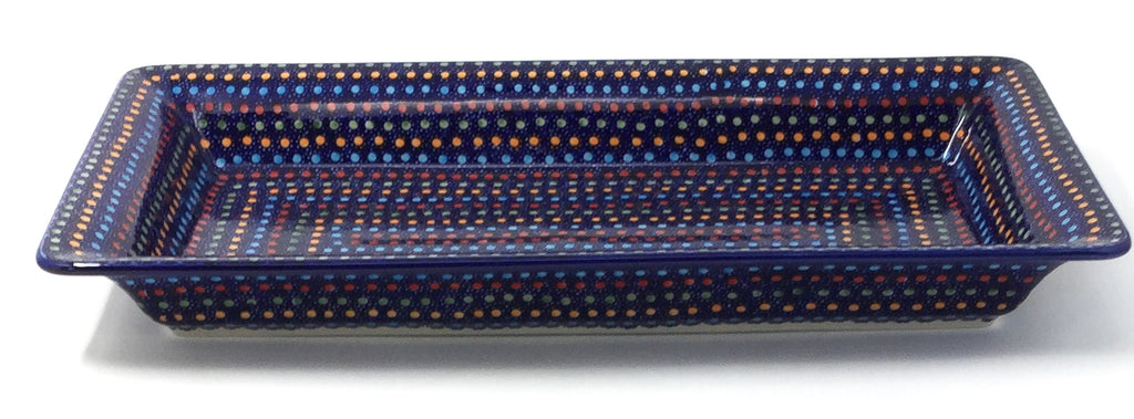Polish Pottery Lg Rect. Server w/Lip in Multi-Colored Dots Multi-Colored Dots