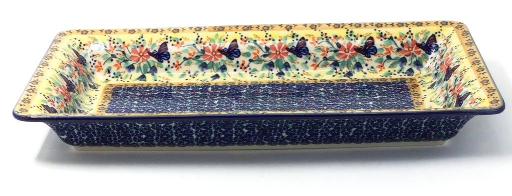 Polish Pottery Md Rect. Server w/Lip in Butterfly Meadow Butterfly Meadow