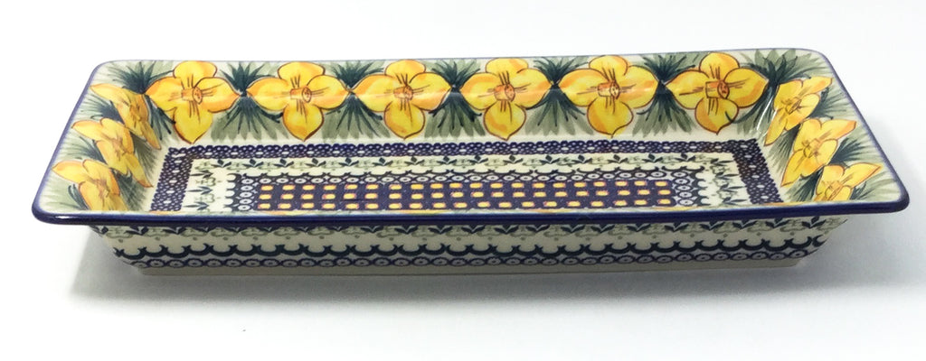 Polish Pottery Lg Rect. Server w/Lip in Daffodils Daffodils