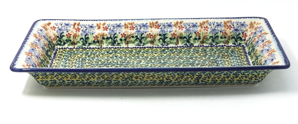 Polish Pottery Lg Rect. Server w/Lip in Country Spring Country Spring