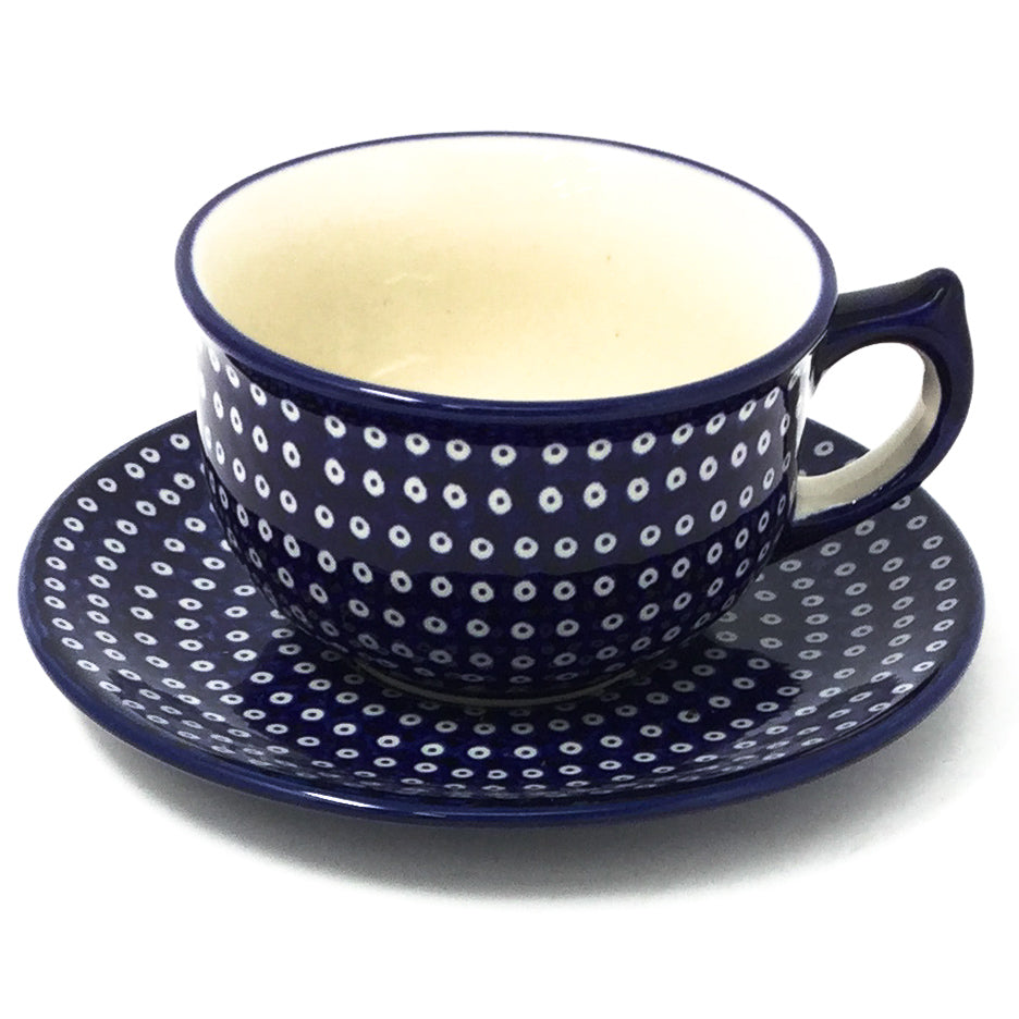 Polish Pottery Tea Cup w/ Saucer 8 oz in Blue Elegance Blue Elegance