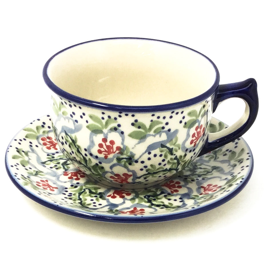 Polish Pottery Tea Cup w/ Saucer 8 oz in Japanese Garden Japanese Garden