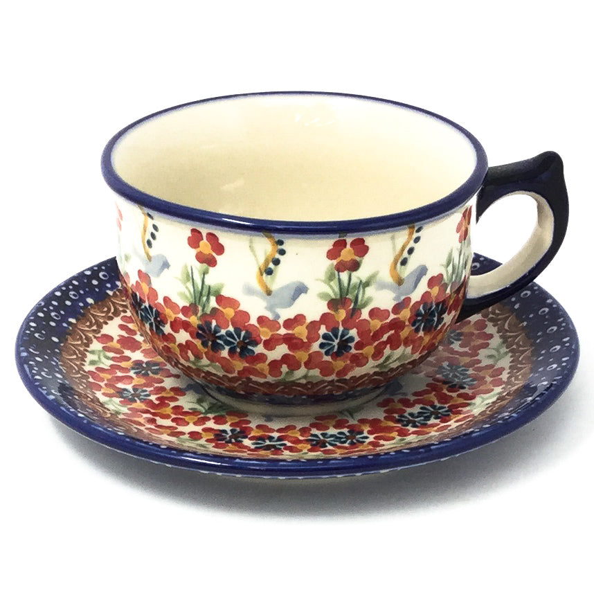Polish Pottery Tea Cup w/ Saucer 8 oz in Simply Beautiful Simply Beautiful