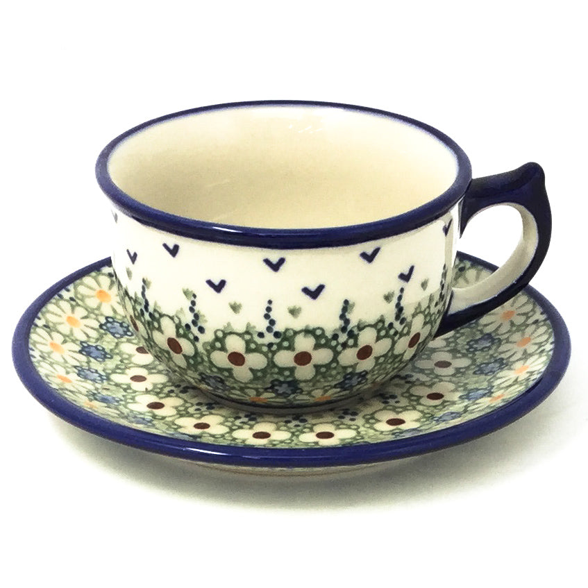 Polish Pottery Tea Cup w/ Saucer 8 oz in Spring Spring