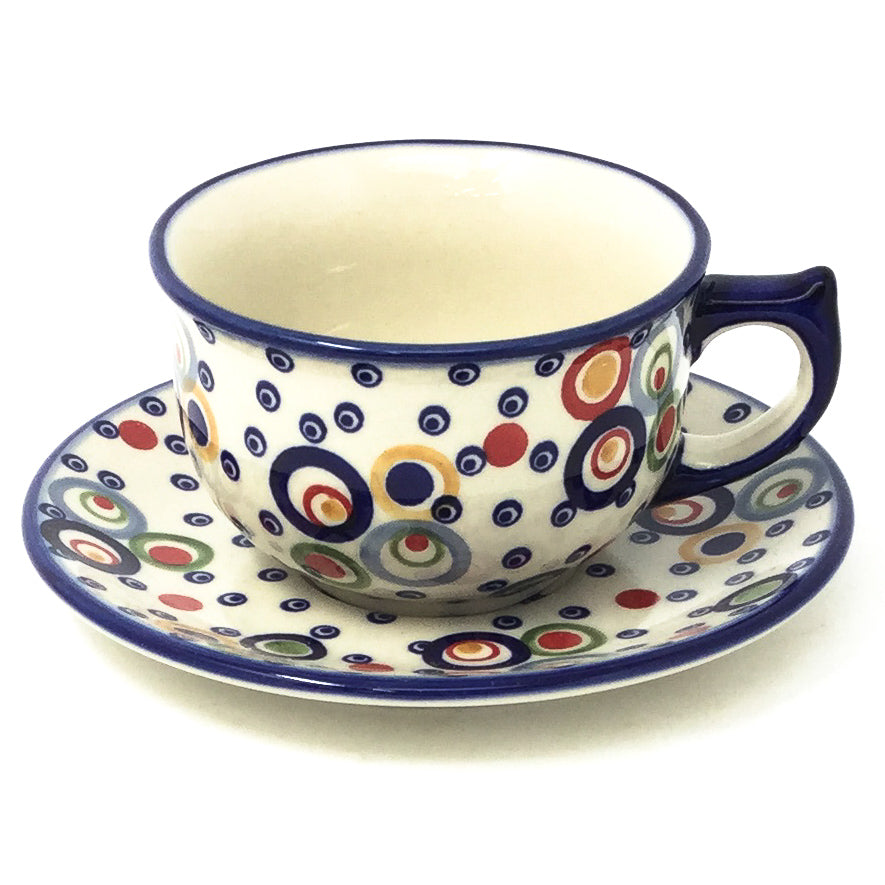 Polish Pottery Tea Cup w/ Saucer 8 oz in Modern Circles Modern Circles