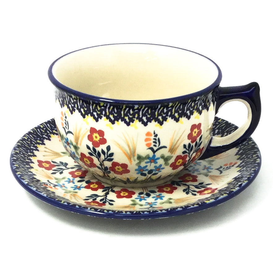 Polish Pottery Tea Cup w/ Saucer 8 oz in Autumn Bouquet Autumn Bouquet