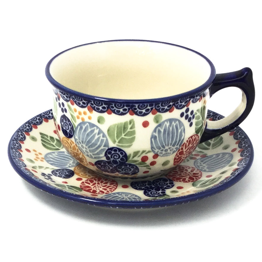 Polish Pottery Tea Cup w/ Saucer 8 oz in Modern Berries Modern Berries