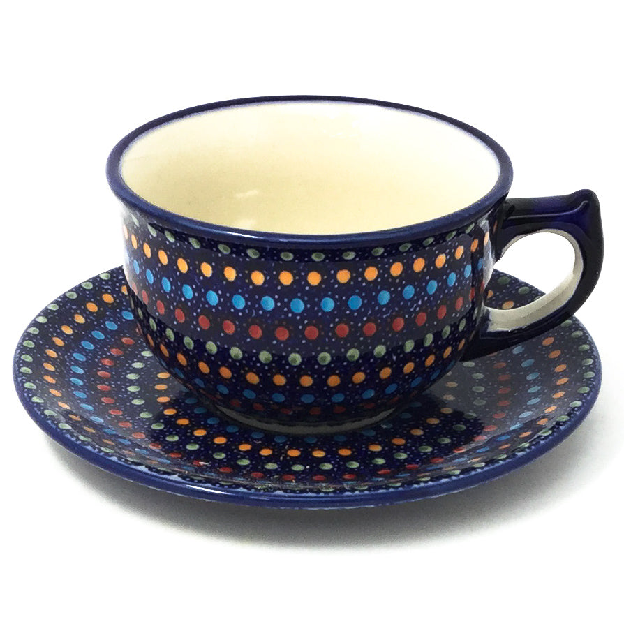 Polish Pottery Tea Cup w/ Saucer 8 oz in Multi-Colored Dots Multi-Colored Dots