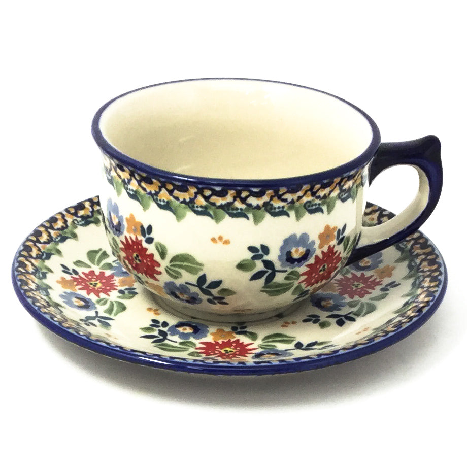 Polish Pottery Tea Cup w/ Saucer 8 oz in Late Spring Late Spring
