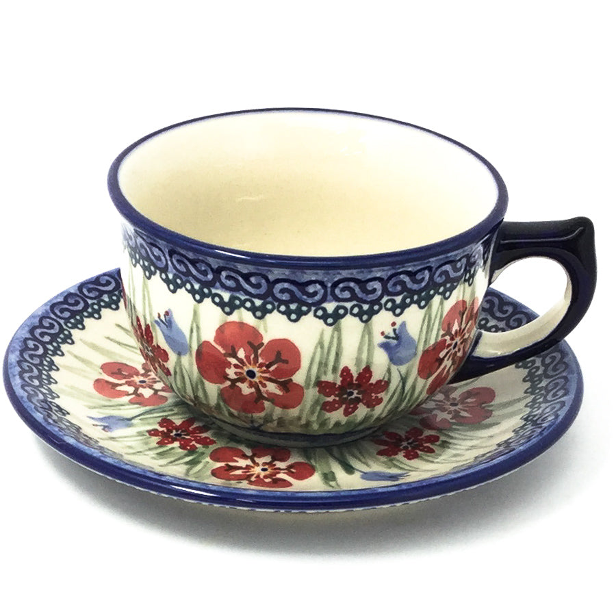 Polish Pottery Tea Cup w/ Saucer 8 oz in Spring Meadow Spring Meadow