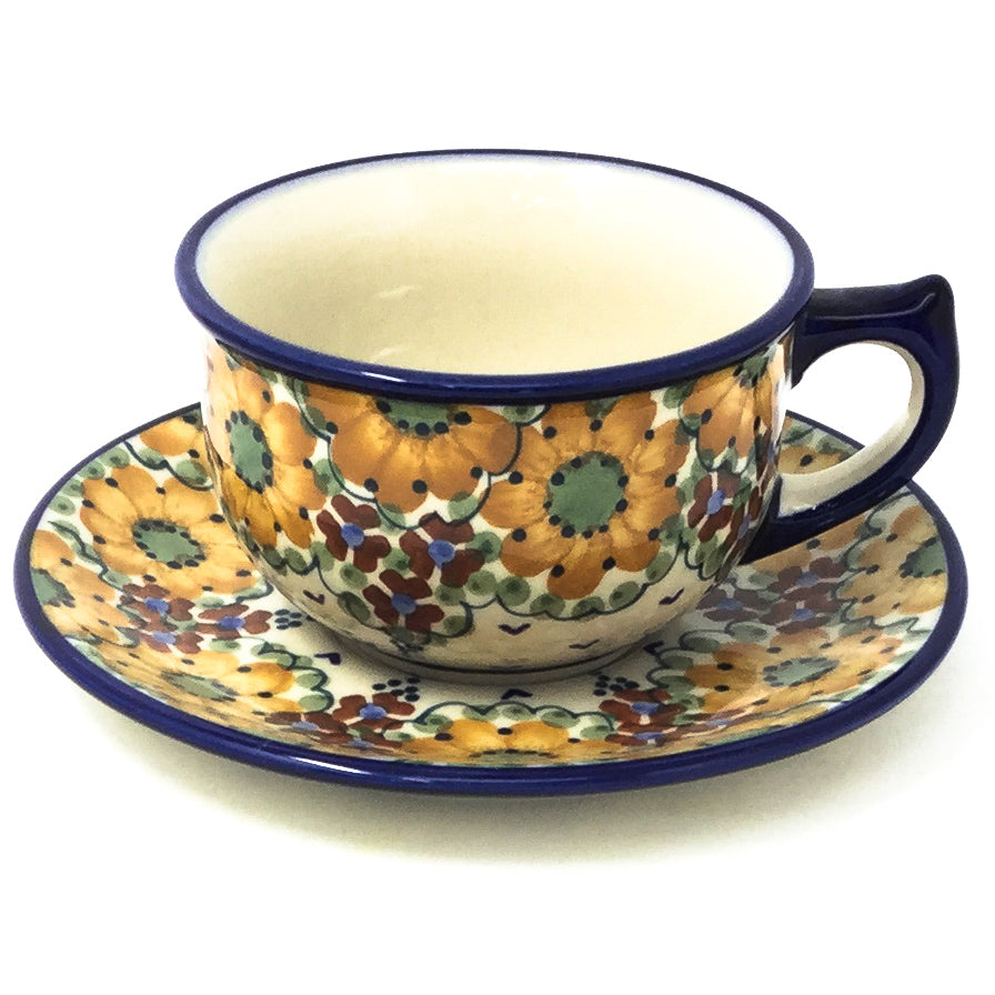Polish Pottery Tea Cup w/ Saucer 8 oz in Fall Fall