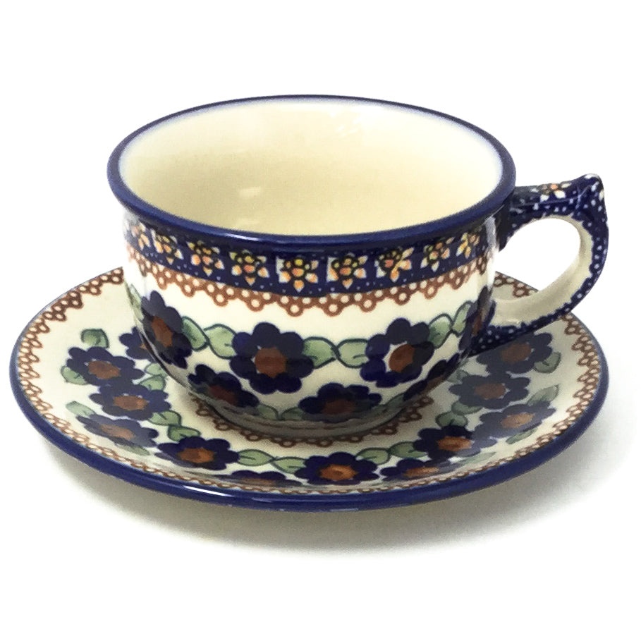 Polish Pottery Tea Cup w/ Saucer 8 oz in Petunia Petunia