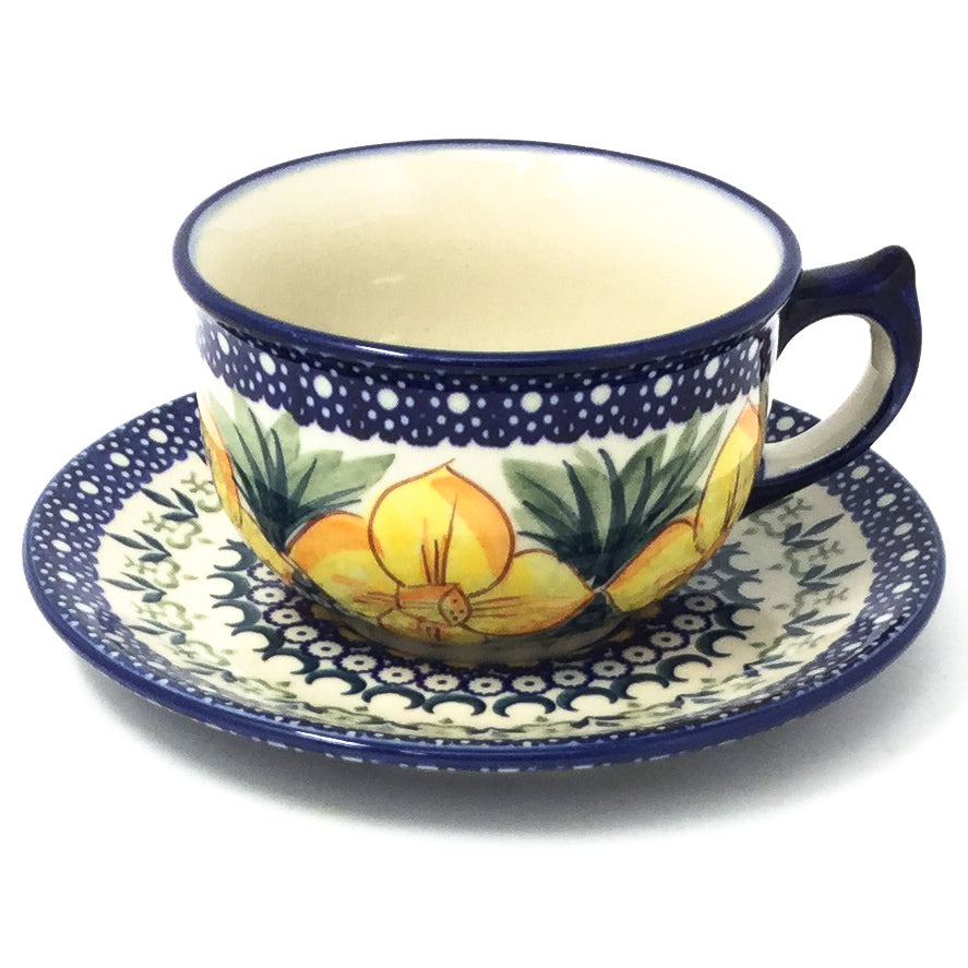Polish Pottery Tea Cup w/ Saucer 8 oz in Daffodils Daffodils