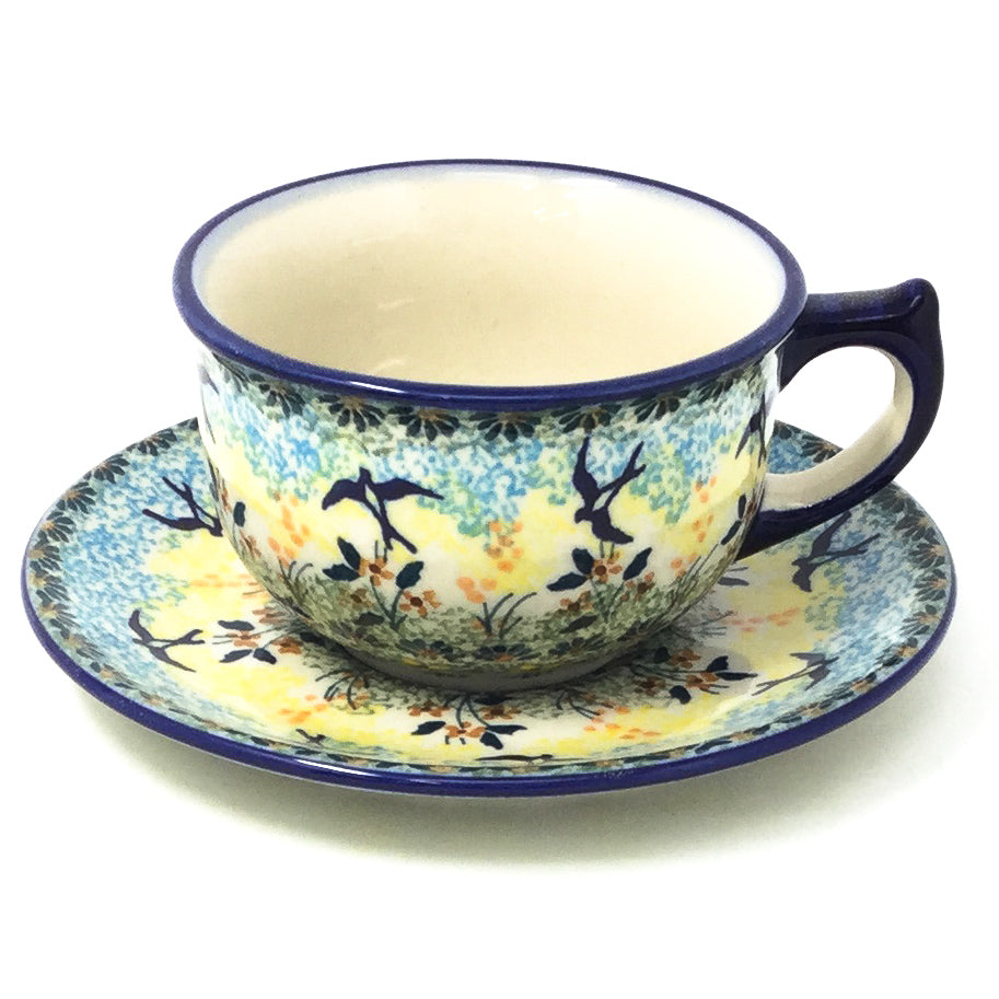 Polish Pottery Tea Cup w/ Saucer 8 oz in Birds Birds