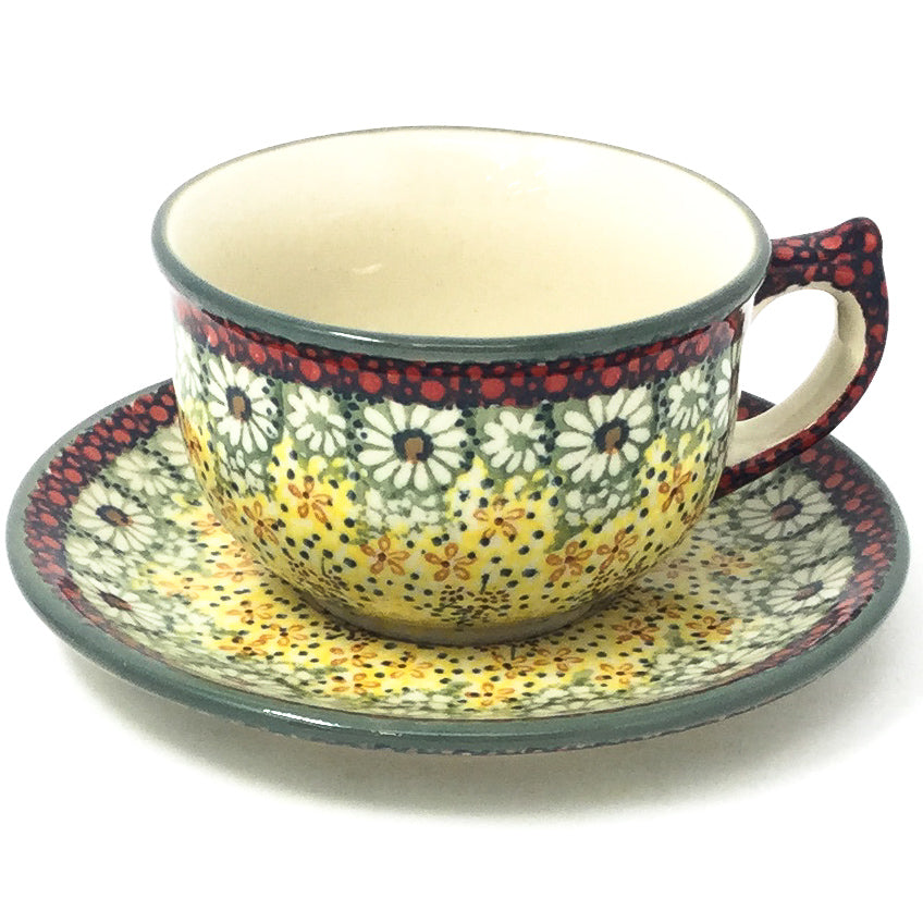 Polish Pottery Tea Cup w/ Saucer 8 oz in Cottage Decor Cottage Decor