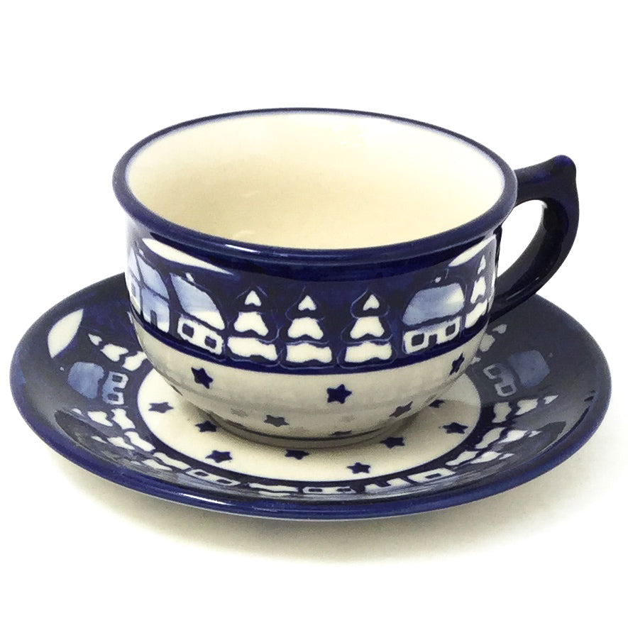 Polish Pottery Tea Cup w/ Saucer 8 oz in Winter Winter