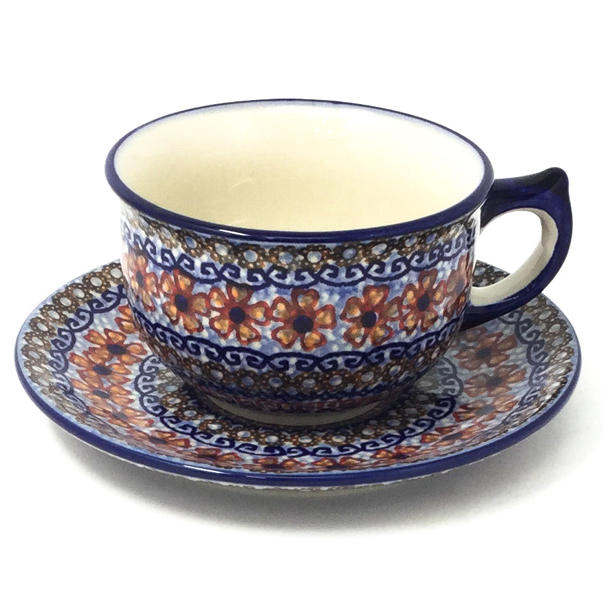 Polish Pottery Tea Cup w/ Saucer 8 oz in Earth Tones Earth Tones
