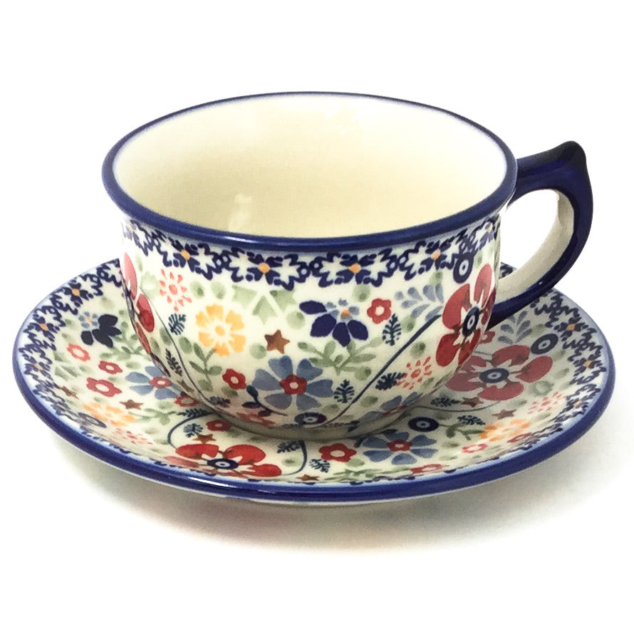 Polish Pottery Tea Cup w/ Saucer 8 oz in Summer Arrangement Summer Arrangement