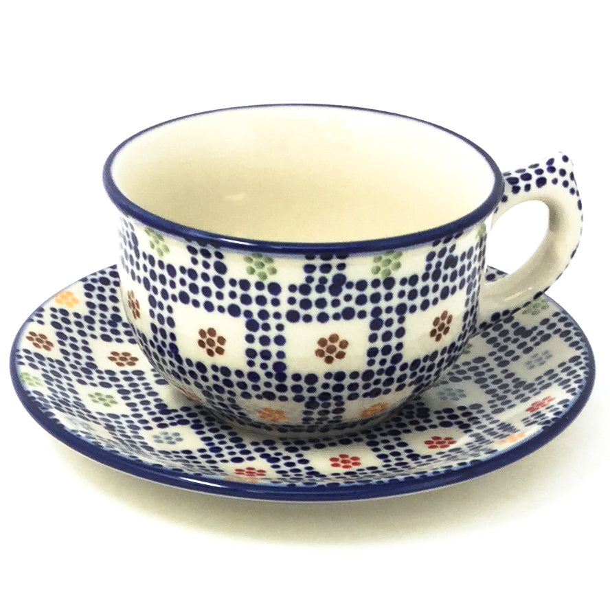 Polish Pottery Tea Cup w/ Saucer 8 oz in Modern Checkers Modern Checkers