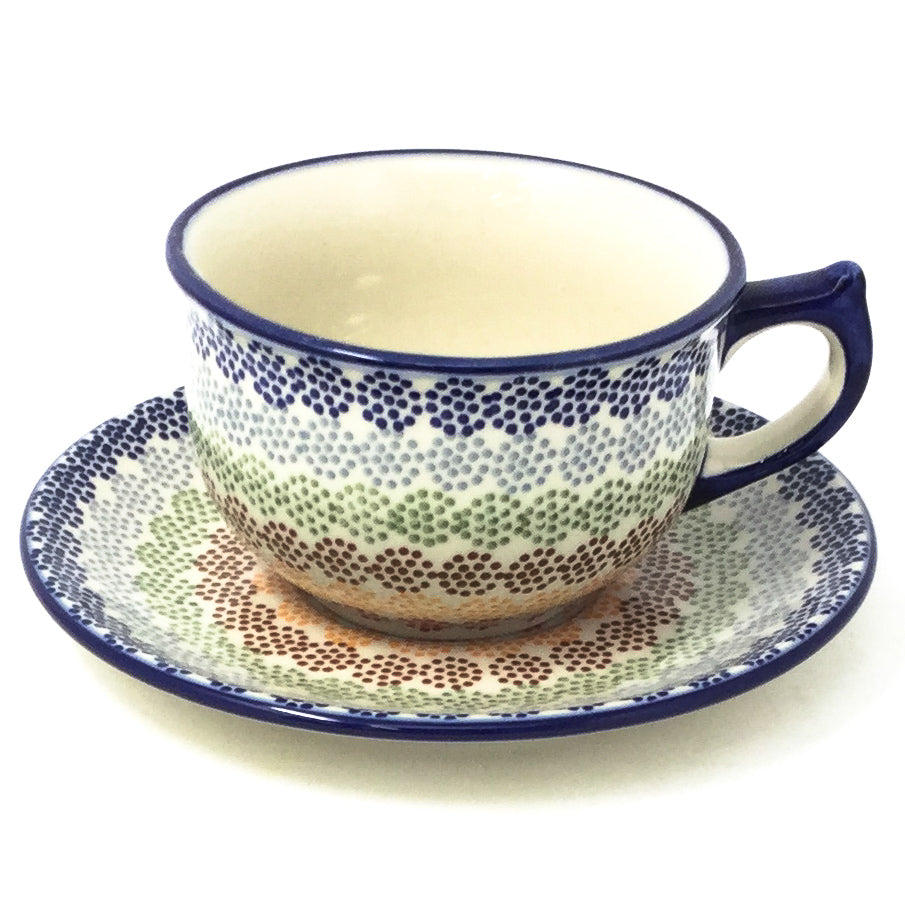 Polish Pottery Tea Cup w/ Saucer 8 oz in Modern Dots Modern Dots